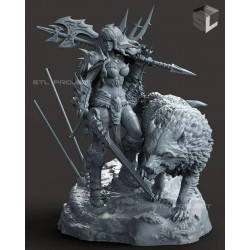 Barbarian Girl and the Wolf - STL 3D print files