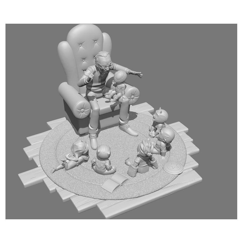 Stan Lee and kids - STL 3D print files