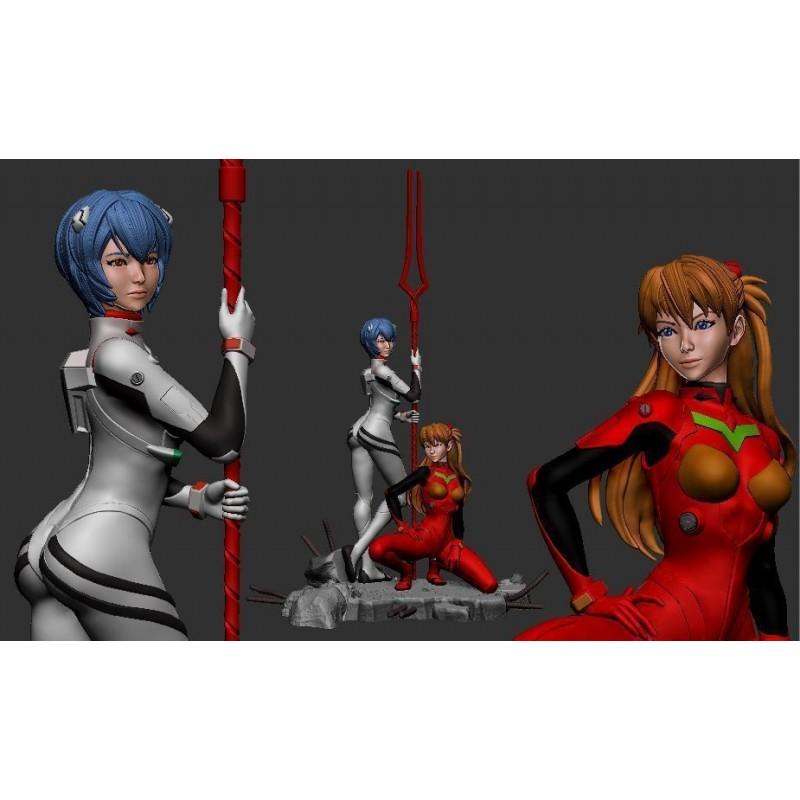 Asuka and Rei Evangelion + NSFW - STL 3D print files