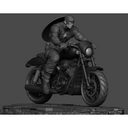 Captain America on Motorcycle - STL Files for 3D Print